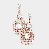 Rhinestone Pave Oval Stone Detail Chandelier Evening Earrings