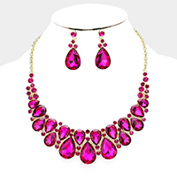 Curved Crystal Teardrop Cluster Evening Necklace