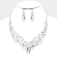 Marquise Crystal Oval Cluster Evening Necklace