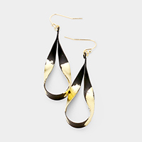 Gold Dipped Twisted Teardrop Hoop Dangle Earrings
