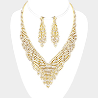 Draped Crystal Rhinestone Pave Fringe Necklace