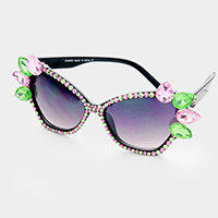 Crystal Teardrop Embellished Cat Eyes Sunglass