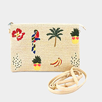 Embroidery Flower Parrot Palm Tree Pineapple Clutch Bag