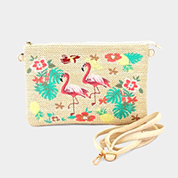 Embroidery Floral Flamingo Clutch Bag