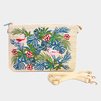 Embroidery Leaf Flowers Flamingo Clutch Bag