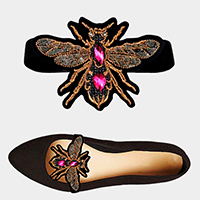 1Pair Embellished Honey Bee Patch Stretch Shoe Accessory