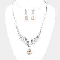 Cubic Zirconia Pave Teardrop Dangle Bib Necklace