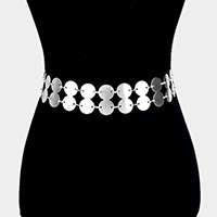 2Rows Textured Metal Disc Link Chain Belt