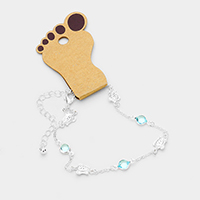 Round Bead Metal Turtle Station Anklet