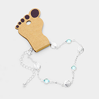 Round Bead Metal Shell Station Anklet