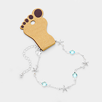 Round Bead Metal Starfish Station Anklet