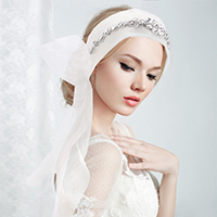Crystal Embellished Bridal Wedding Mesh Belt / Headband