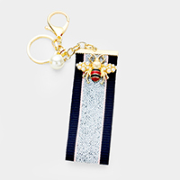 Pearl Embellished Honey Bee Stripe Strap Key Chain