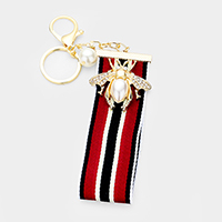 Pearl Embellished Honey Bee Stripe Grosgrain Strap Key Chain