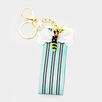Sequin Honey Bee Stripe Strap Key Chain
