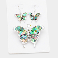 Abalone Butterfly Magnetic Pendant Set