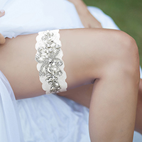 Floral Crystal Pave Lace Stretch Wedding Garter
