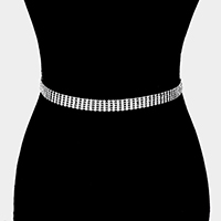 5 Row Crystal Rhinestone Pave Chain Belt