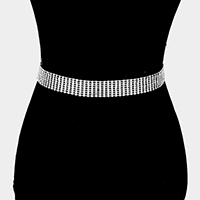 8Lines Crystal Rhinestone Pave Chain Belt
