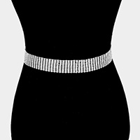 9Lines Crystal Rhinestone Pave Chain Belt