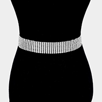 11Lines Crystal Rhinestone Pave Chain Belt
