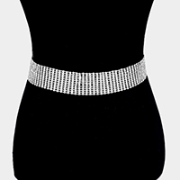 12Lines Crystal Rhinestone Pave Chain Belt