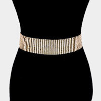 15Lines Crystal Rhinestone Pave Chain Belt