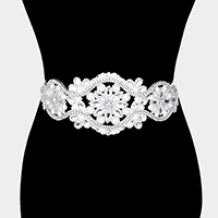 Crystal Flower Sash Ribbon Bridal Wedding Belt / Headband