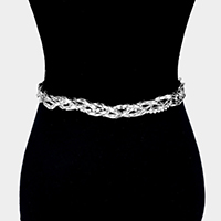 Braided Crystal Rhinestone Metal Chain Belt