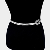 Crystal Rhinestone Pave Knot Accented Chain Belt
