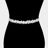 Felt Back Crystal Pave Sash Ribbon Bridal Wedding Belt / Headband