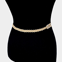 Rhinestone Pave Rectangle Hoop Accented Braided Chain Belt