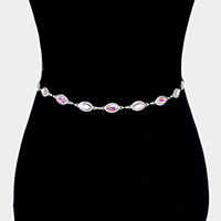 Rhinestone Pave Crystal Oval Link Chain Belt