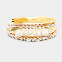 Chain Embellished Freshwater Pearl Wrap Magnetic Bracelet
