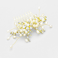 Teardrop Pearl Round Crystal Cluster Hair Comb