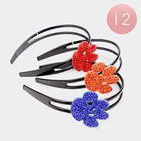 12PCS - Paw Crystal Rhinestone Pave Headbands
