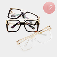12PCS - Oversized Gold Frame Detail Clear Lens Sunglasses
