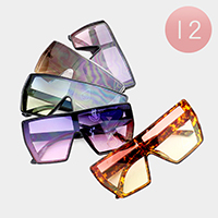 12PCS - Oversized Square Oceanic Color Lens Sunglasses