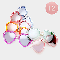 12PCS - Oversized Heart Mirror Lens Sunglasses