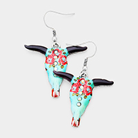 Patterned Steer Head Dangle Earrings