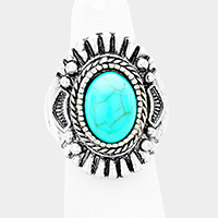 Antique Oval Turquoise Accented Stretch Ring