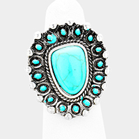 Antique Triangle Turquoise Accented Stretch Ring