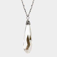 Stone Cluster Pave Teardrop Pendant Long Necklace