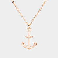 Metal Anchor Pendant Necklace