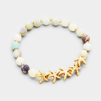 Semi Precious Stone Metal Starfish Stretch Bracelet