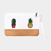 Sequin Cactus Pineapple Clutch Bag