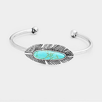 Oval Turquoise Metal Feather Cuff Bracelet