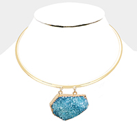 Abstract Genuine Druzy Choker Necklace
