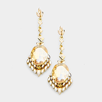 Long Drop Oval Crystal Detail Marquise Evening Earrings