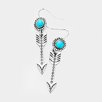 Turquoise Antique Metal Arrow Dangle Earrings